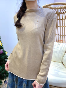 2012074 JF  Buttons Neck Knit Top - Caramel