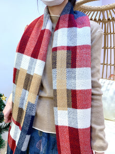 2012048 KR Reversible Colour Blocks  Stole - Red