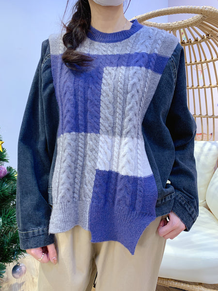 2011175 JF Denim Sleeves Colour Blocking Knit Top - Purple