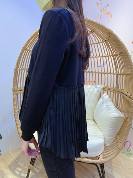 2012120 JF Half Pleats Knit Top - Black