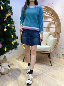 2012104 JF Mixed Colour Hem Knit Top - Green