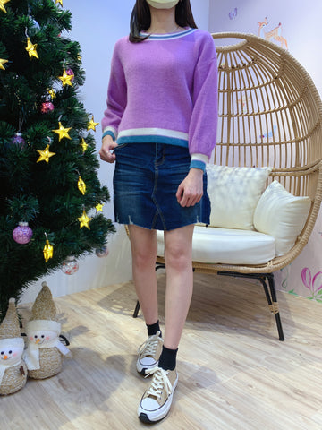 2012104 JF Mixed Colour Hem Knit Top - Puple
