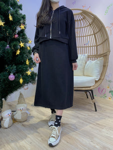 2012150 JF Hooded Jacket & Skirt Set - Black
