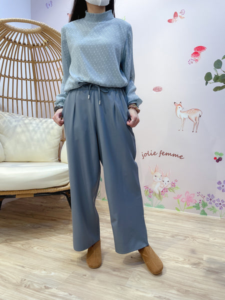 2101086 MT Tied Rubber Waist Straight Pants - Grey