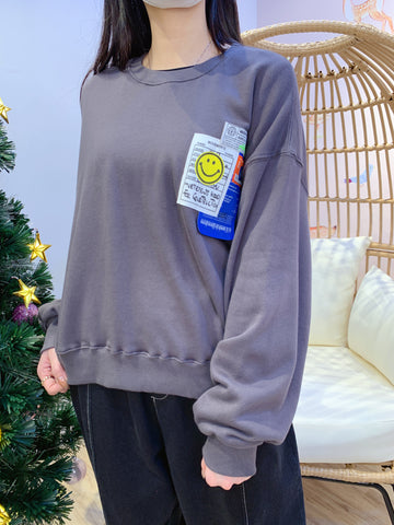 2012151 KR Smiley Tag Pullover - Charcoal