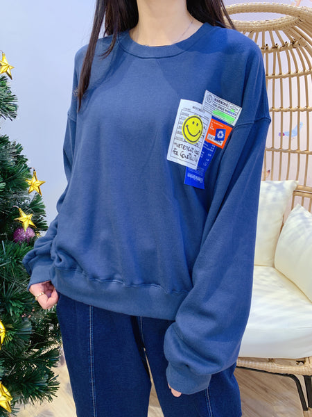 2012151 KR Smiley Tag Pullover - Blue