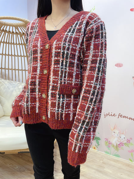 2101093 JF Tweed Patterned Outer - Red