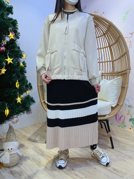 2012148 JF Ribbon Pockets Zipped Jacket - Beige