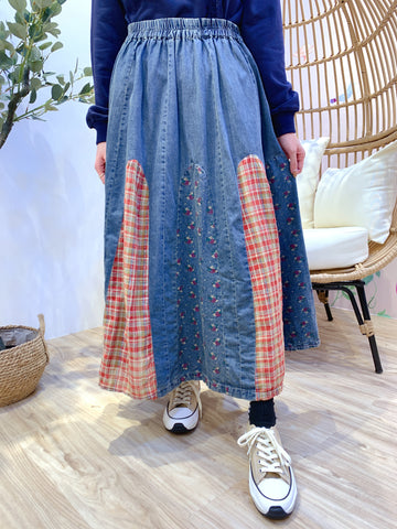 2101014 JP Floral Checked Patch Denim Skirt - Red
