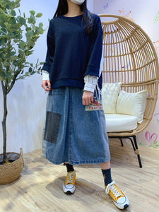 2101016 JP Denim Patchwork Words Skirts - Blue