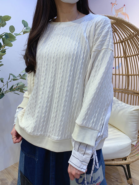 2101011 JF Cable Knit Patchwork Pullover - White