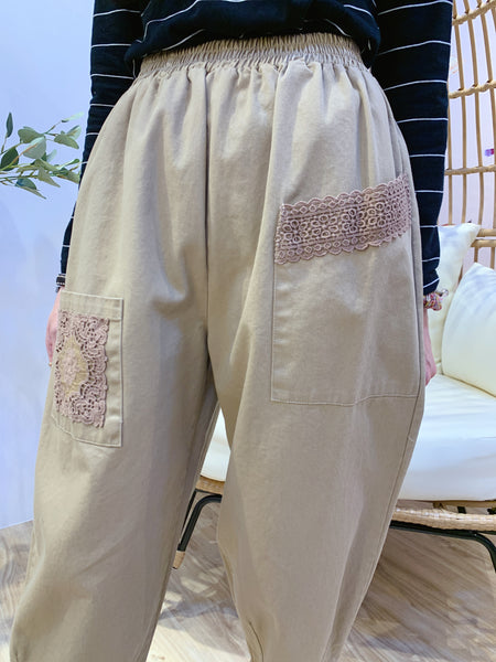 2101010 JP Lace Hem Casual Pants - Beige