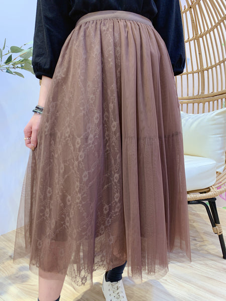 2101008 JF Tulle Lace Skirt - Brown