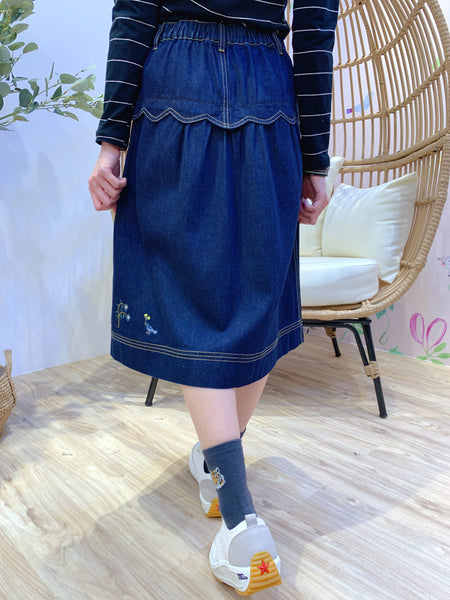 2101022 DR Animals Embroidery Denim Skirt - XL