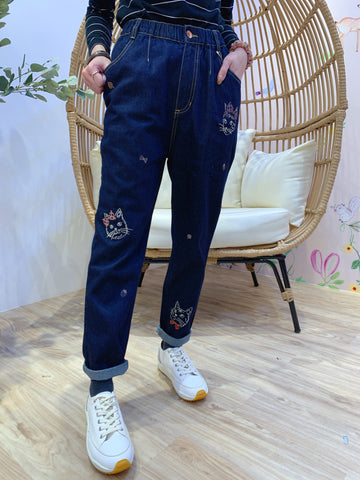 2101023 DR Cats Embroidery Jeans - S