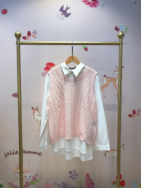 2010087 JF  Knitted Vest & Shirt Set - Pink