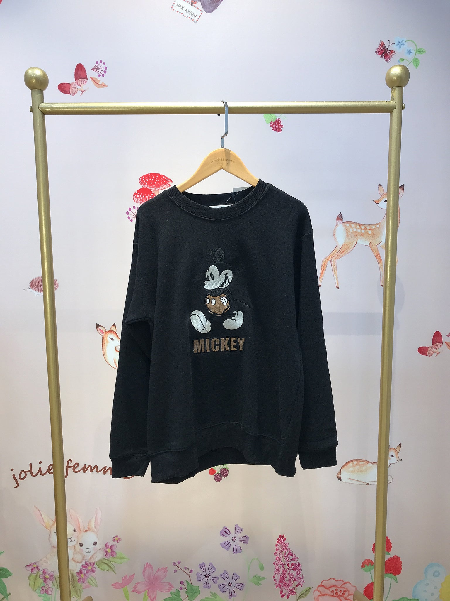 2011003 JP  Mickey In Corduroy Shorts Pullover - Black