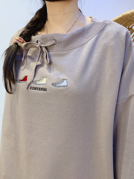 2101025 CONS Tied Collar Sneakers Pullover - GREY