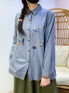 2101050 KR Catman Embroidery Shirt - Blue