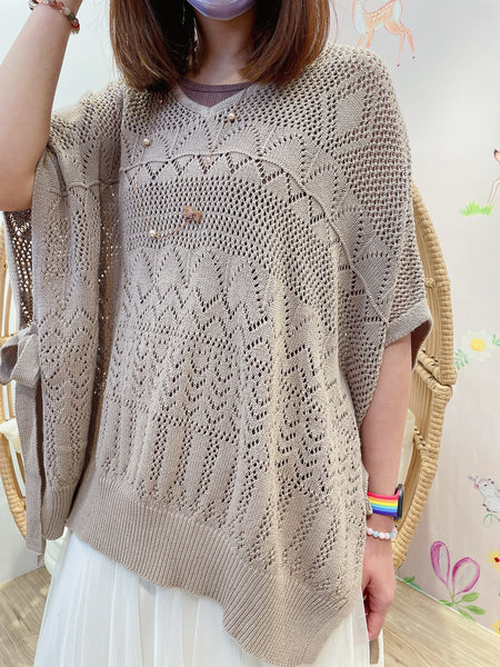 2103026 MMO Pattern V Neck Knit loose Top - Mocha