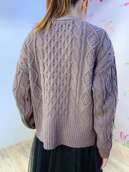 2101062 RG Cable Knit Cardigan - Purple