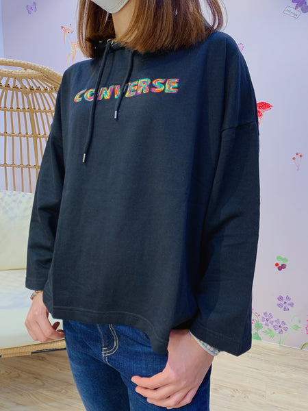 2102013 Cons Rainbow Logo Embroidery Hoodie - Black