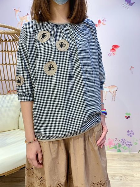 2102015 KR Embroidery Patchwork Check Blouse