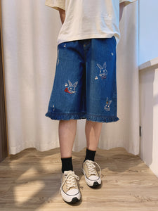 2104043 DR Embroidery rabbits pants -Blue