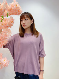 2104111 MY Waffle Pattern Basic Roll Sleeves Top - Purple