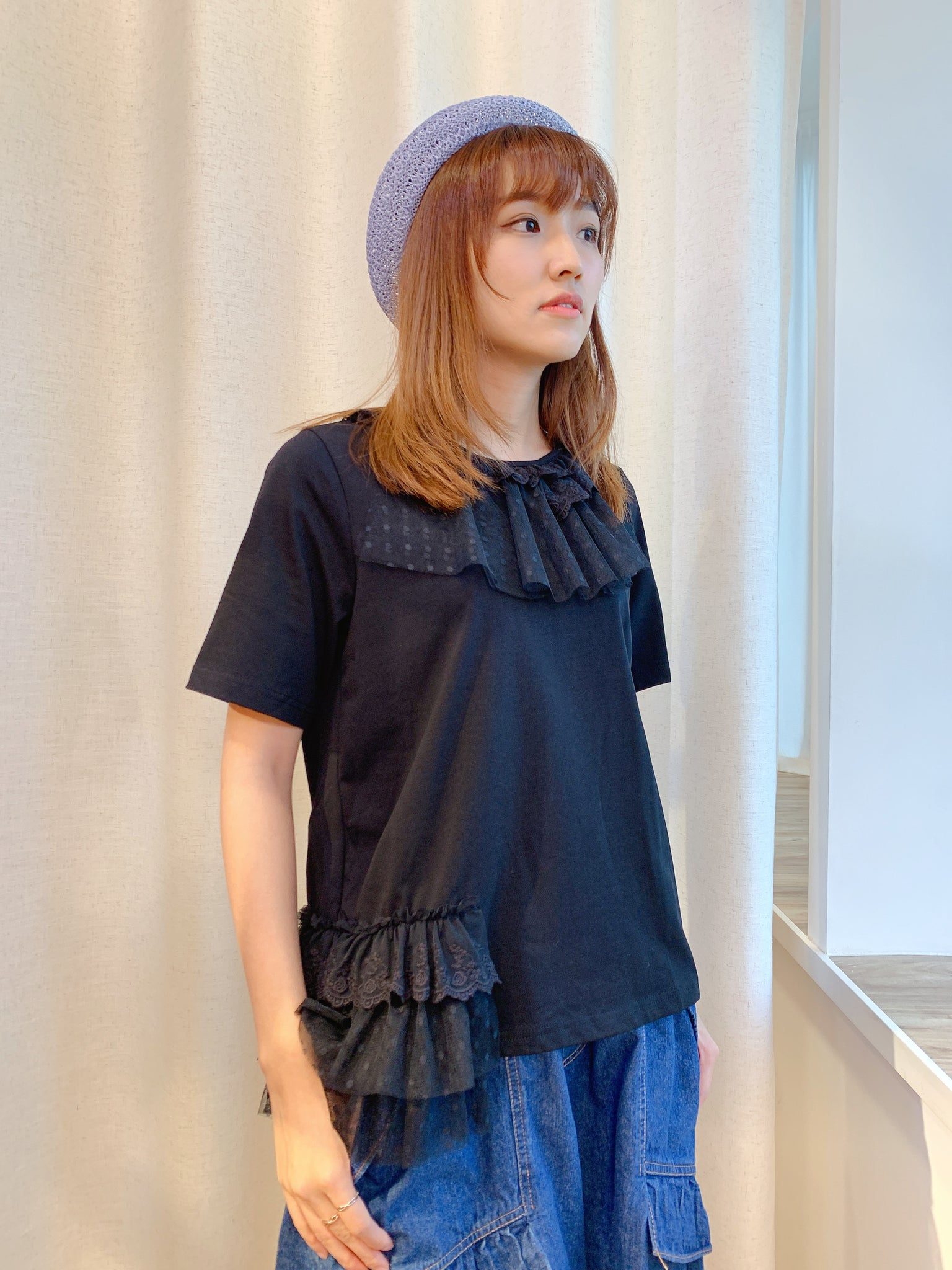 2104130 RR Lace Patchwork Top- Black