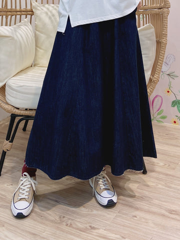 2104002 TEC Side Button A-Line Denim Skirt