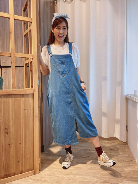 2103126 JF Denim Overall Dress-blue