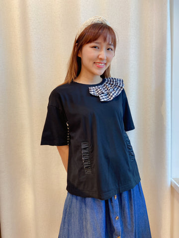 2104006 RR Checked Ruffle Pocket Top