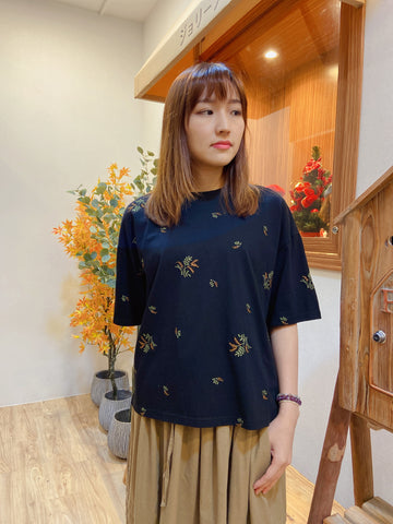 2104031 JP Colour Plants Embroidery Top - Black