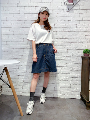 2006006 DR embroidered bear denim culottes NAVY