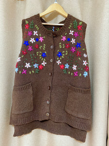 2010067 JF Multi-colour Floral Knit Vest -  BROWN