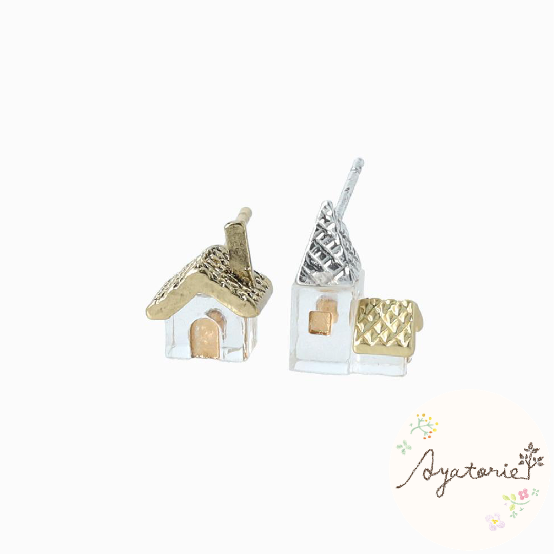 1101AY367 Ayatorie Castle in Forest Earrings