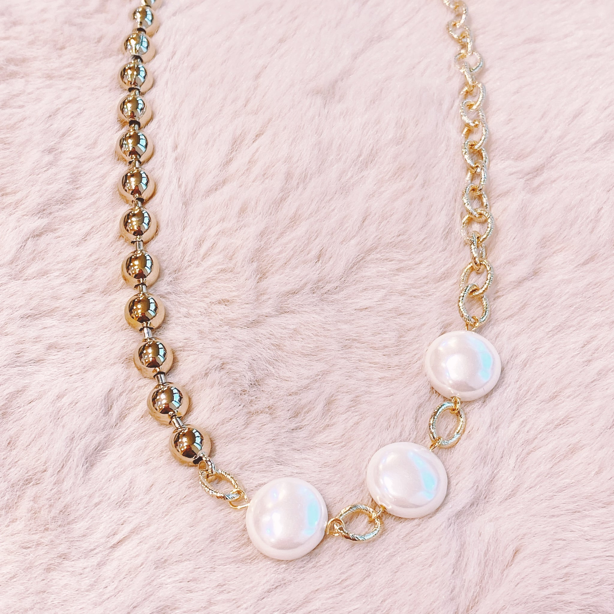 YBNE002  YB Pearls and Chain Necklace