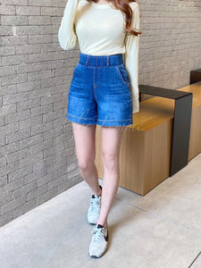 2003042 HL elastic waistband denim shorts