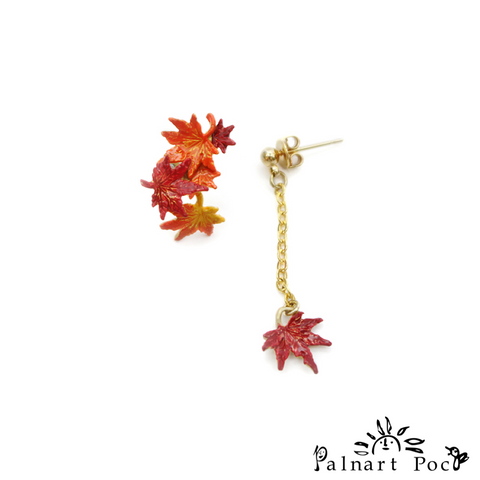1001PA428 Palnart Poc - Autumn Leaves Pierced Earrings