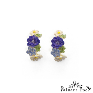1001PA435 Palnart Poc - Flower Bouquet Pierced Earrings