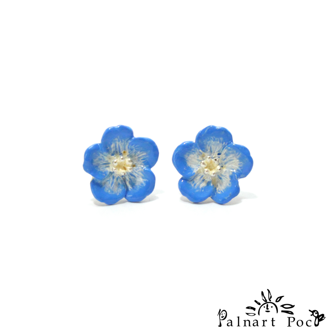 1001PA422 Palnart Poc - Nemophila Pierced Earrings