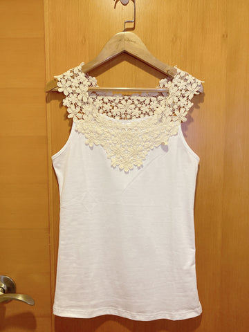 2004140 JF bi-colour lace vest - White