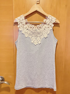2004140 JF bi-colour lace vest - Grey