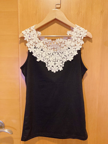2004140 JF bi-colour lace vest - Black