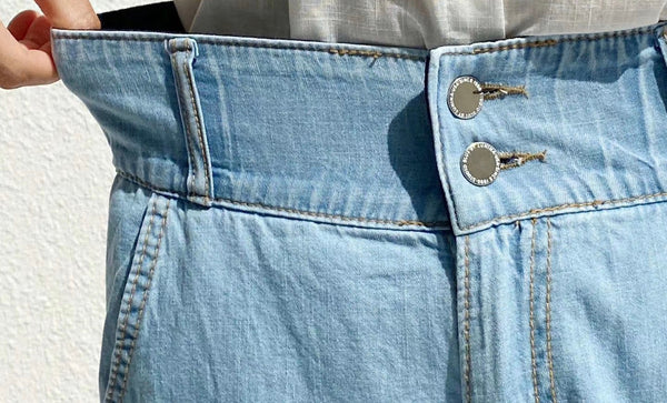 2006102 HL double buttons denim shorts
