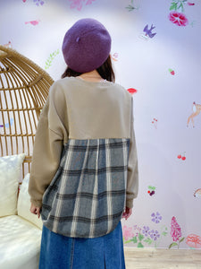 2011040 MT Back Checked Pullover - Mocha