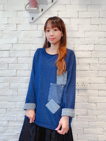 1909054 DD pocket denim top