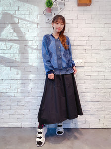 1910002 DD lace leaves denim jacket