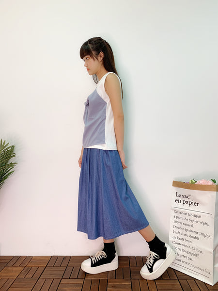 1907028 DD 2 in 1 top & denim skirt set